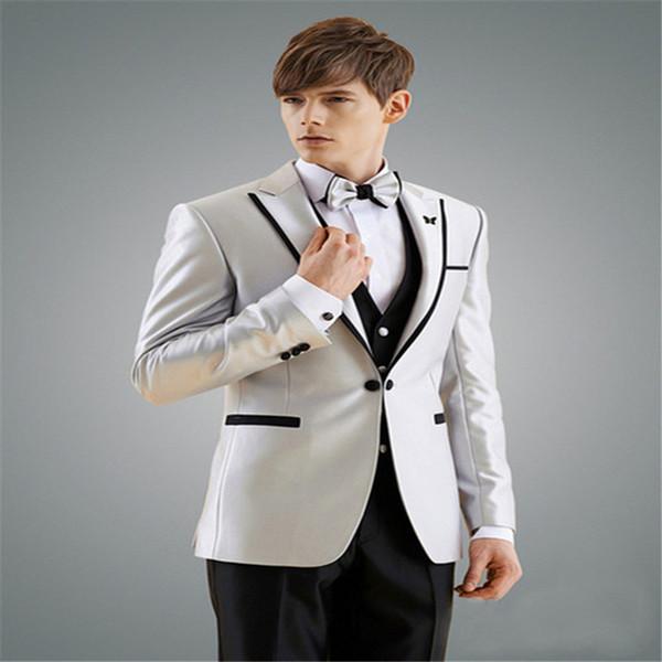 2019 Man Suit New Design Groom Tuxedos Black Edge Groomsman Suit for Man Clothes Custom Made Wedding Suit(Jacket +pants+vest)