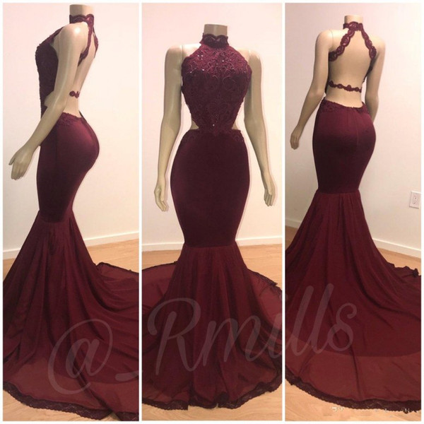 New Burgundy Prom Dresses 2019 Real Mannequins Halter Neck Open Back Sexy  Cutaway Sides Appliques Sequins Long Train Evening Gowns Mid Length Prom