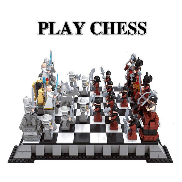 AUSINI 27907 New Enlighten Castle Series international chess Model Building Blocks Sets minis Kids Bricks Toys Bringuedos DIY