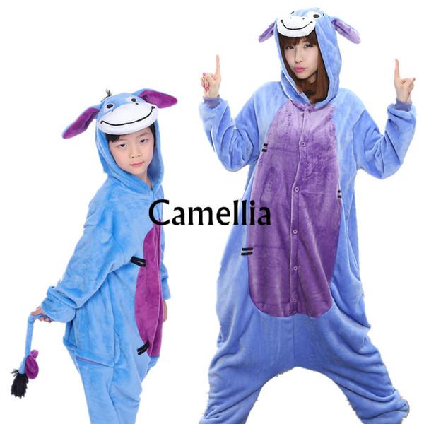 Adulto per bambini Kawaii Donkey Tutina Unisex Costume animale Morbido caldo flanella Indumenti da notte Halloween Blu Burro Party Pigiama mascotte