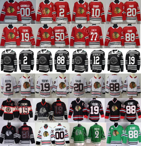 top popular Chicago Blackhawks Jersey Hockey Duncan Keith Jonathan Toews Patrick Kane Corey Crawford Alex DeBrincat Kirby Dach Saad Sharp Clark Griswold 2019