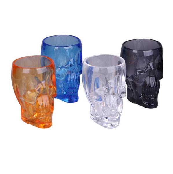 Cráneo plástico Copas de vino 4 colores Cóctel Copas de vino Acrílico transparente Cervezas Copas Party Bar Gafas OOA6729