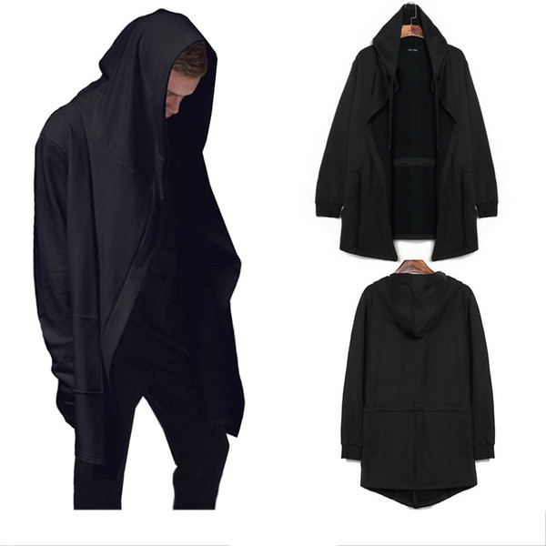 men/'s coat Mid-length unbuttoned trench coat hooded cloak men/'s long jackets 5XL