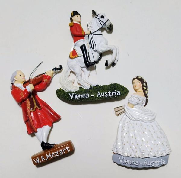 Vendita calda Austria Vienna Princess Mozart 3D Magneti per frigo Turismo Souvenir Frigorifero adesivi magnetici Home Decor regalo