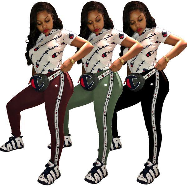 Queda Plus Size Campeões Mulheres Verão S-2XL Two Piece Set manga curta T-shirt + calças Sports terno da moda vestuário Outfits Jogging Suit 1484
