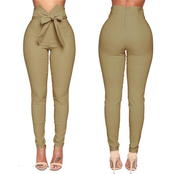 Moda feminina de Cintura Alta Calça Casual Moda Feminina Bowknot Longo Magro Skinny Calças Bandage Elastic Calças Lápis Com Caixilhos