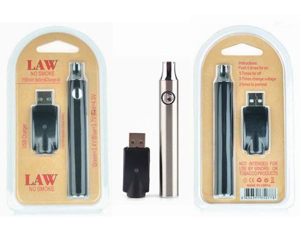 Loi préchauffant la batterie VV 650mAh 900mAh 1100mah Vape Stylo Blister Kits O Pen Bud Batterie de Vape à tension variable avec chargeur USB