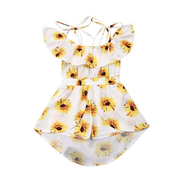 Summer Kids Girls Princess Dress Fashion Baby Girl Clothes Sunflower Print Off Shoulder Romper Dress Sleeveless Jumpsuit Dresses