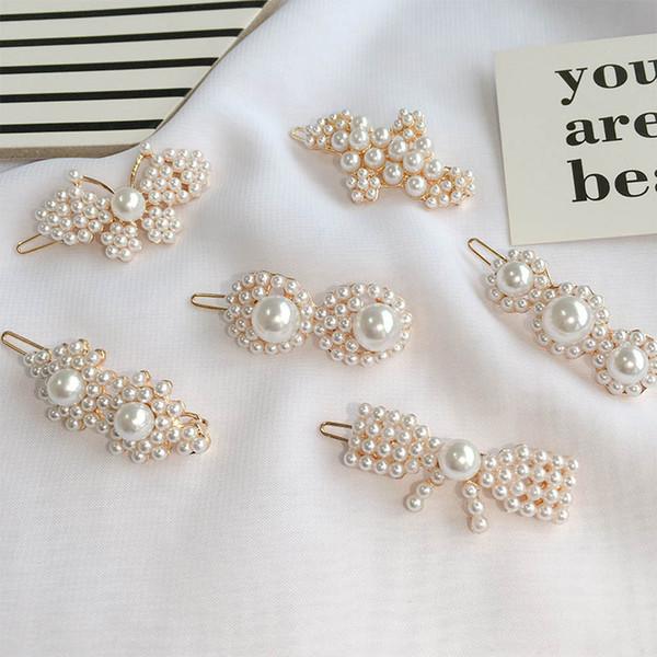 INS pearl girls hair clips Fashion kids barrettes designer hair accessories for women BB clips designer hair clips women accessories A6691