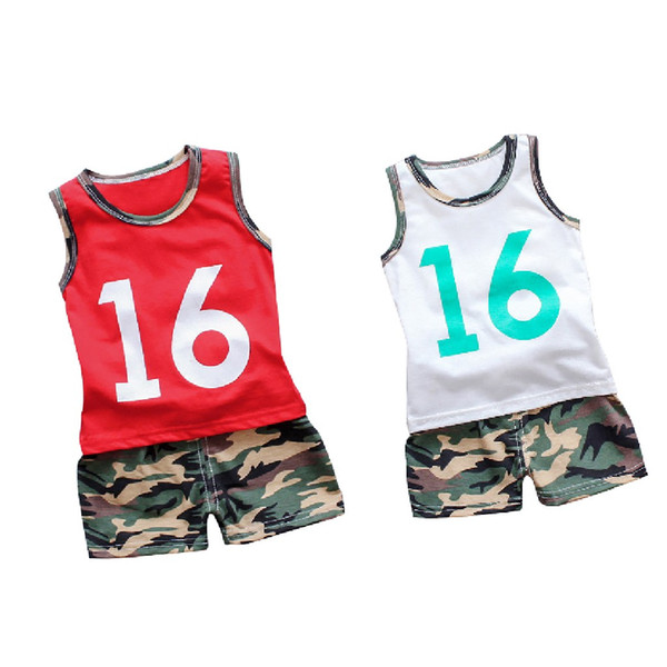 e52125fa9 Perimedes Baby Boys Summer Sport Clothes Sets Toddler Baby Boy Camouflage T-shirt  Vest Tops