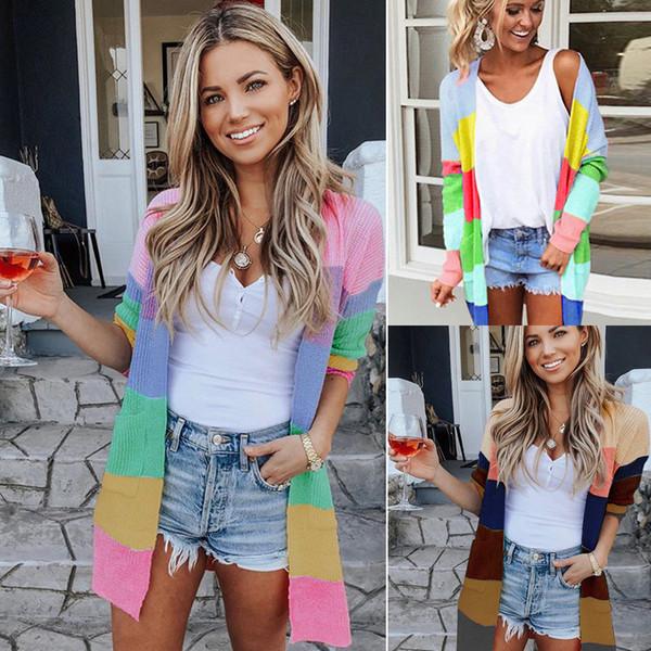 Autumn Sweater Women Long Sleeve Patchwork Knitted Open Front Rainbow Striped Cardigan Women Coat 2019