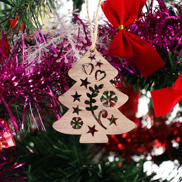 3pcs Creative Christmas Wooden Pendants Ornaments DIY Wood Crafts Xmas Tree Ornaments Christmas Party Decorations Kids Gift