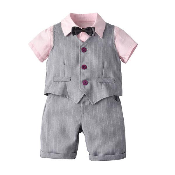 Nouvel été enfants vêtements griffés garçons costume vêtements ensembles enfants ensembles 3pcs chemise + gilet + shorts garçons vêtements enfants vêtements A5168