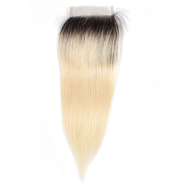 1B 613 Ombre Blonde hair 4x4 Lace Closure Brazilian Straight Virgin Human Hair Extension Hand Tied Peruvian Indian Malaysian Hair 10-20 Inch
