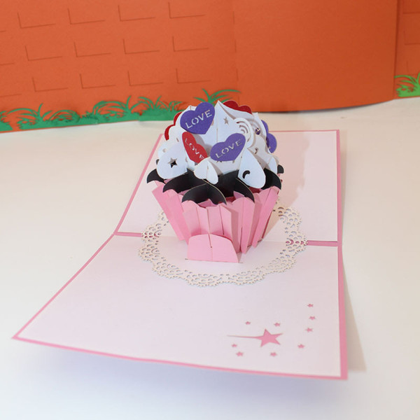 3D Pop Up Origami Birthday Cake Design Greeting Cards Invitation Card Kirigami Anniversary Gift Free Shipping
