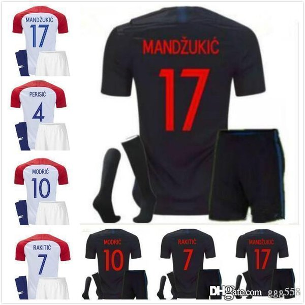 new product d322c af6d0 2019 Top Quality 2018 MANDZUKIC Set Maillot De Foot Luka Modric Football  Shirts Kovacic I.Rakitic Mandzukic MODRIC Kit Croacia Home Soccer Jersey  From ...