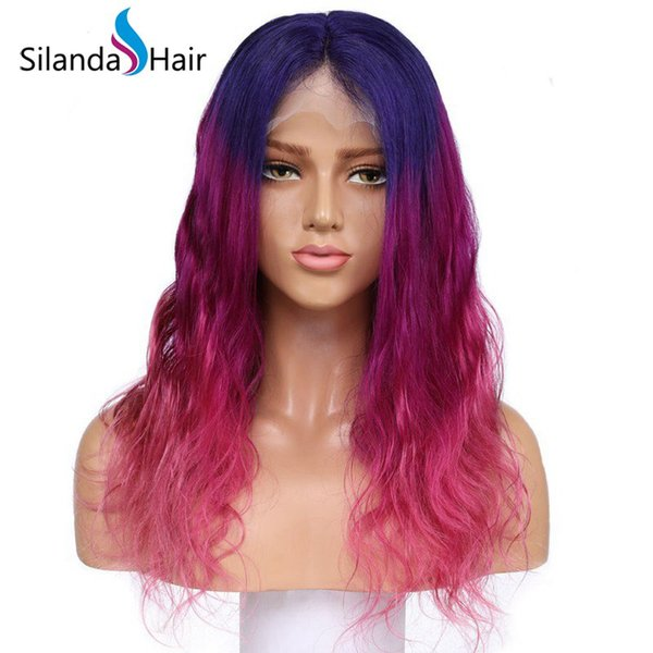 Silanda Hair Ombre Blue Light Purple Pink Body Wave Brazilian Remy Human Hair Lace Front Full Lace Wigs Free Shipping