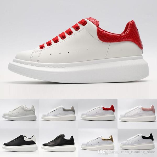 Мода Черный белый красный роскошный Модный дизайнер Женская обувь Золото с низким вырезом из кожи Плоские дизайнеры Марка мужские женские повседневные кроссовки 36-44
