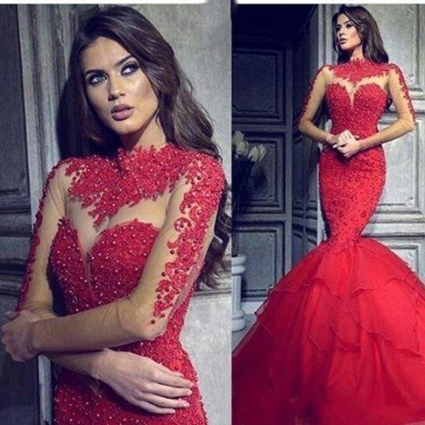 Hot Red Mermaid Evening Dresses Lace Pearls Beaded Luxury Arabic Fishtail Illusion High Neck Prom Dresses With Long Sleeve Women Formal Wear