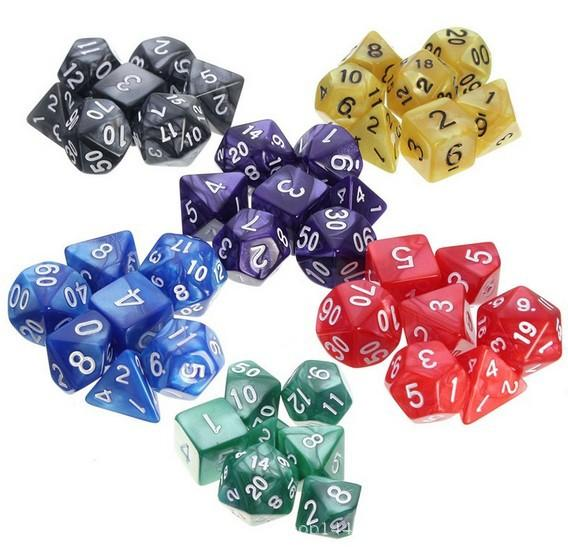 Dadi Set di giochi per famiglie Intrattenimento per bambini Dadi Dungeon Draghi Dadi acrilici poliedrici Accessori colorati per giochi da tavolo M512Y