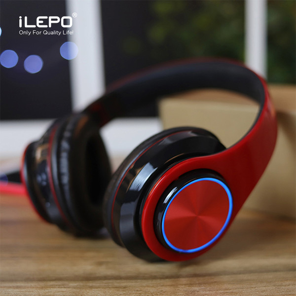 1 piece led breathing light bluetooth headphones with foldable headband portable wireless headphones support tf card better i12 tws