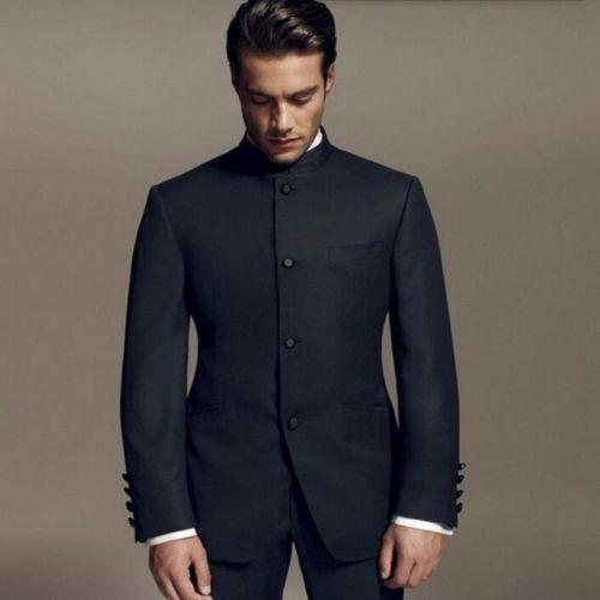 (jacket+pants+tie) 2 Pieces Black Loose Fit Men Suits Stand Collar Men&s Cool Party Wear Bridegroom /best Men Wedding Tuxedos
