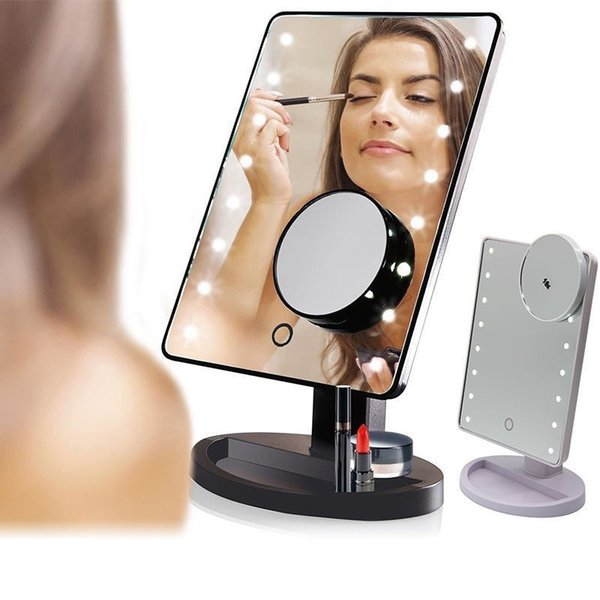 LED Touch Screen Makeup Mirror 1X 10X Vanity Mirror With 16/22 LED Light Table Desktop Bright Adjustable Countertop 180 Rotating