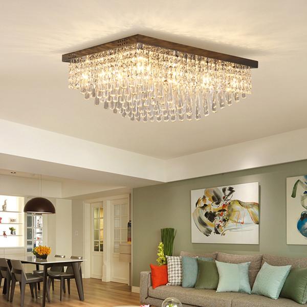 Nuovo design plafoniere moderno rettangolo lampadario di cristallo di lusso in acciaio inox illuminazione lampadari nero LED per la camera da letto soggiorno