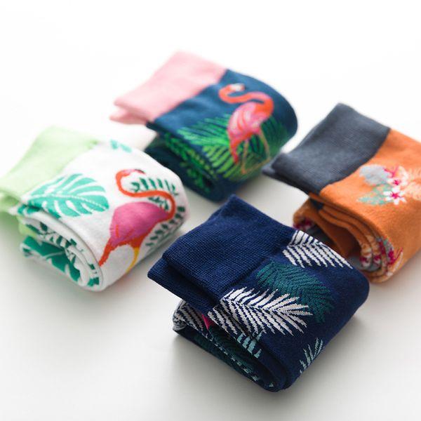 Mulheres mens marca designer meias meias individuais estilo nacional de meias de algodão com Flamingo e folha de guindaste impressão jacquard Tubo médio