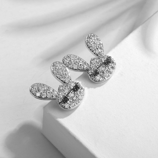 2019 Hot SALE High quality 925 silver needle earring female Crystal from Austrian inlaid zircon naughty rabbit earrings Women