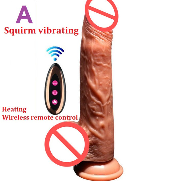 Wireless Remote Controal Heating Big Silicone Dildo Suction Cup Artificial Penis Squirm Vibrating Telescopic Vibrator Sex Toy For Women 329