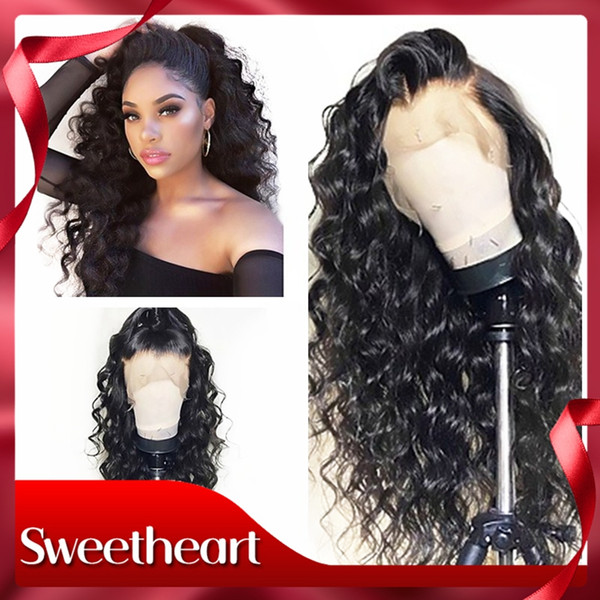 New Soft 180% Density 1b# Black Long Kinky Curly Glueless High Temperature Fiber Hair Synthetic Lace Front Wigs Natural Hairline For Women