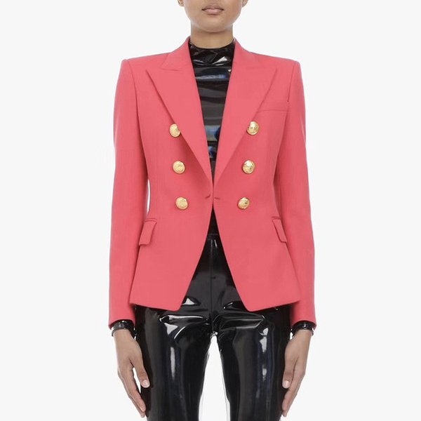 2019New High Quality Womens Blazer Fashion Classic Metal Lion Head Buckle Double Breasted Small Suit watermelon red Female jacket