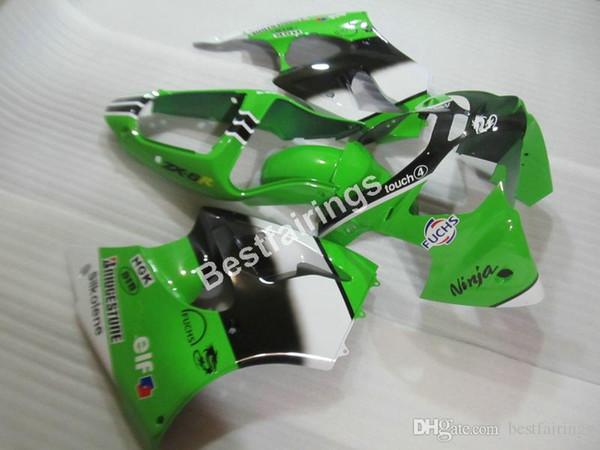 Carénages de vente à chaud pour Kawasaki Ninja ZX6R 00 01 02 kit de carénage vert noir ZX-6R 2000 2001 2002 FX14