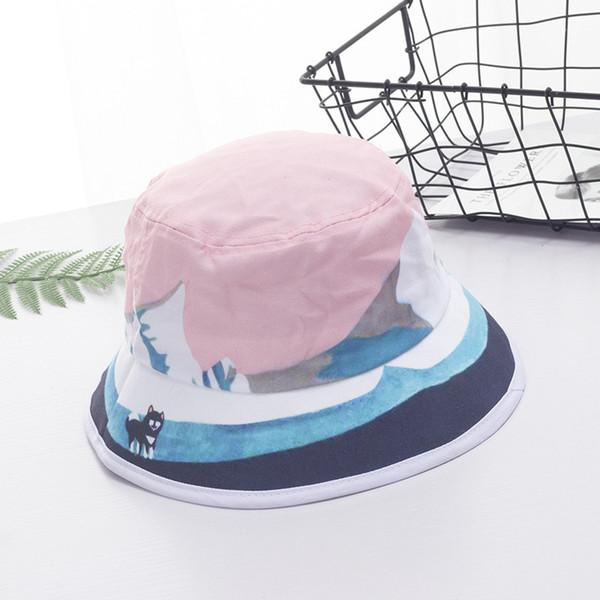 New Female Girls Oil Painting Bucket Hat Breathable Cotton Anti-UV Women Hats Summer Wide Brim Fisherman Cap Dome Sun Caps