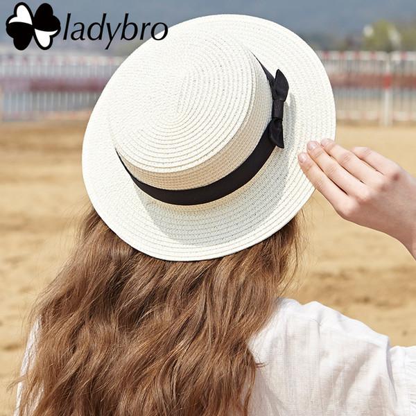Ladybro Marka Kadınlar Sun Hat Yaz Plaj Hasır Şapka Lady boater Chapeau Femme Seyahat ilmek Panama Düz Fedora Kadın