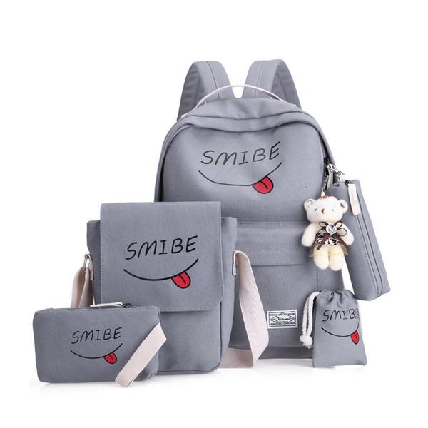Litthing 5cs/set Women Backpack Canvas Printing Smile School Bags For Teenage Girls Women's Backpacks Women's Bag Mochila Mujer