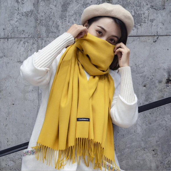 82400f8af hoe sale 2018 free shipping Mixed Cashmere Solid color Shawl Wrap Women's  Plain Scarf Soft Fringes