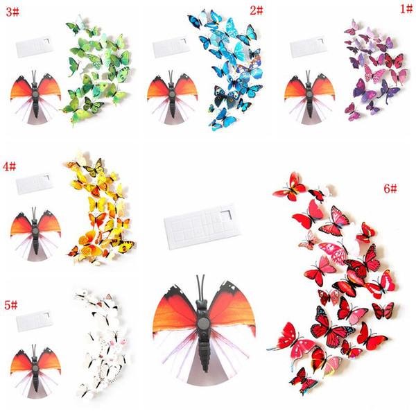 Mural borboleta 12pcs 3D Adesivo PVC Simulação Stereoscopic Etiqueta da borboleta imã Arte do decalque Kid quarto Home Decor DBC VT0446