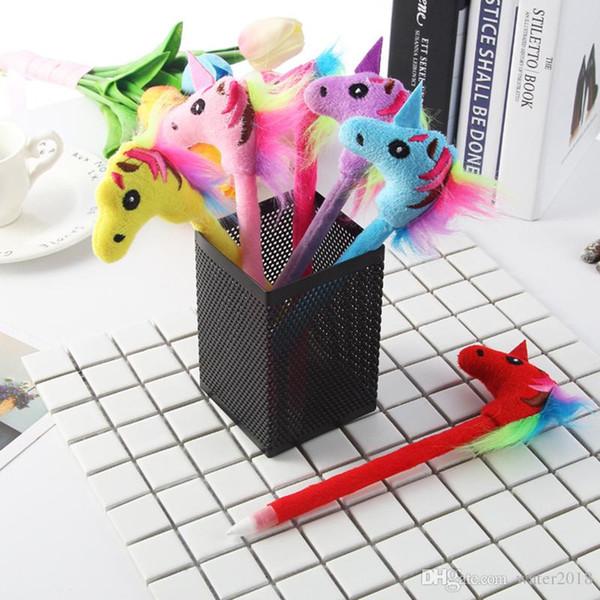 Unicornio lindo de felpa bolígrafo bolígrafo de la novedad Kawai bolígrafos para la escuela de escritura papelería suministros de oficina libre de DHL 588