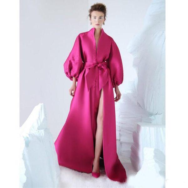 Elegant Fuchsia Evening Dresses Zuhair Murad Side Split Prom Dresses Floor Length Beads Long Sleeves Party Formal Gowns Robe De Soiree