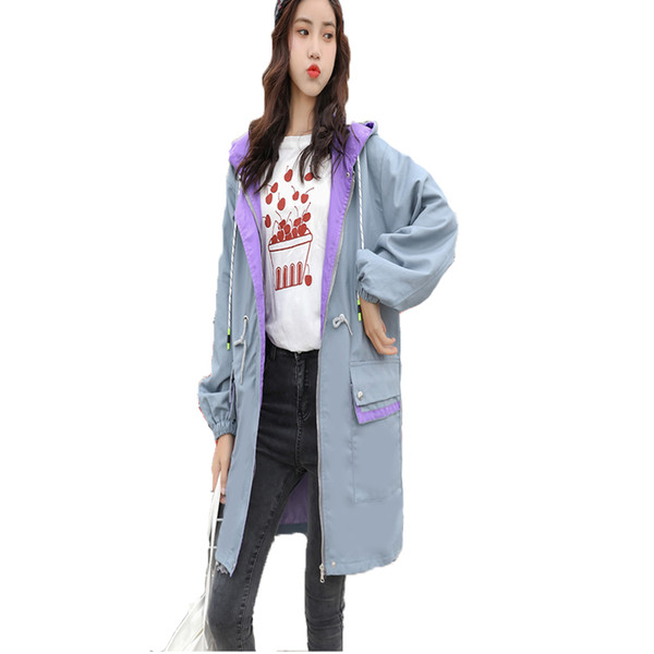 Woman Spring Autumn Coats And Jackets Medium Long Windbreaker Hoodie 2019 New Fashion Ladies Long Sleece Loose Casual Trench