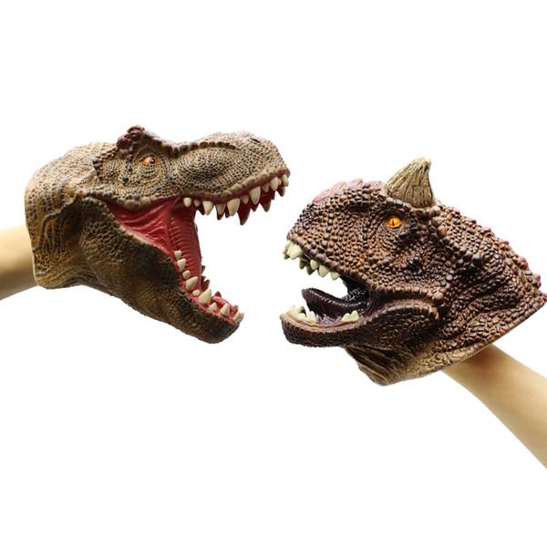 2 pcs Tyrannosaurus rex carnotaurus dinosaur hand puppet toy