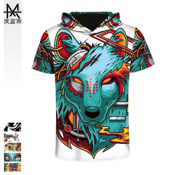 2019 Animal 3D Digital Printing Bottoming Shirt European and American Couples Sports Breathable Short-sleeved Hood T-shirt