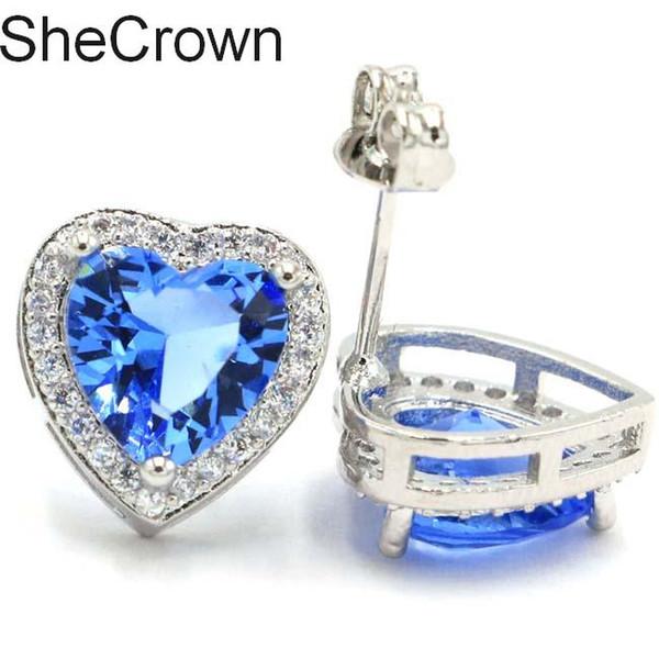 12x12mm Romantic Heart Shape Rich Blue Violet Tanzanite Green Emerald Gift For Girls Silver Stud Earrings