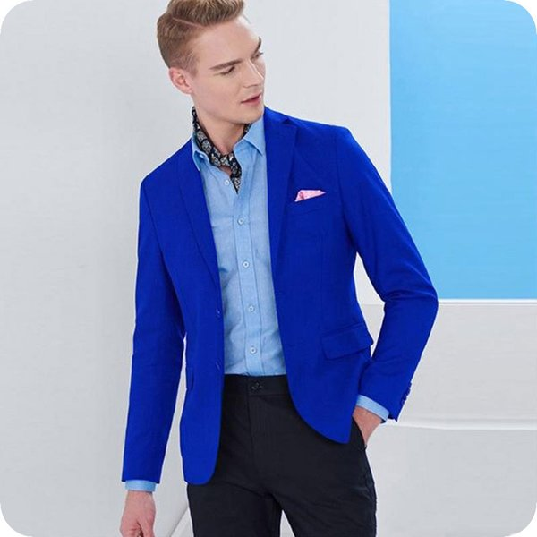 Royal Blue Men Suits for Business Wedding Groom Tuxedo Best Man Blazer Jacket Notchde Lapel 2Piece Coat Black Pants Slim Fit Costume Homme