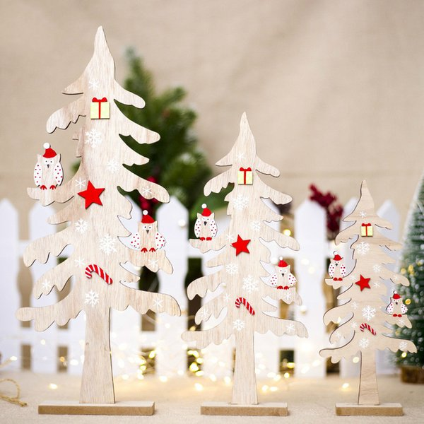 Christmas Wooden Creative Desktop Small Christmas Tree Mini Ornaments Wooden Block Decorations For Home