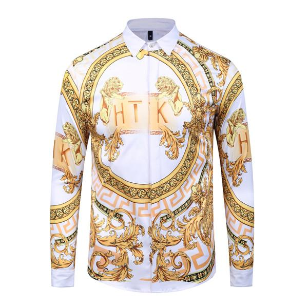 Men Medusa Shirts 3D Gold striped Floral tiger Print Colour Mixture Luxury Casual Harajuku Shirt Long sleeves blouse T-shirt