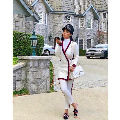Zweireiher Mode Lange Mäntel Frauen V-ausschnitt Langarm Jacken 2019 Newon Gestreiftes Gespleißt Doppeltaschen Outwear