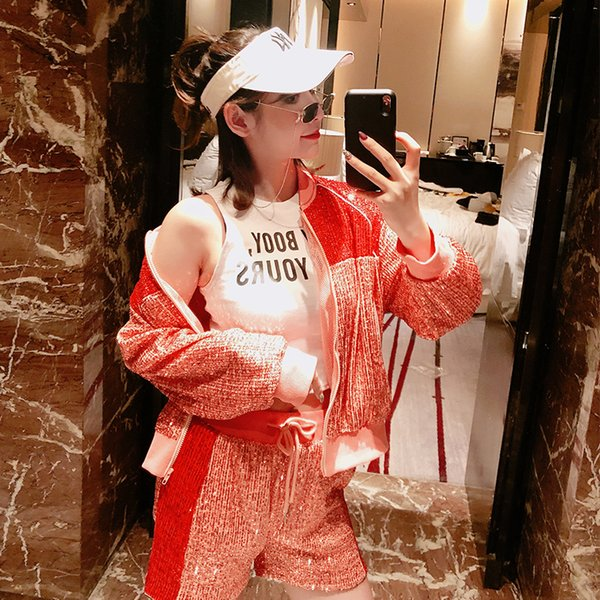 2019 Venta Nuevo Chándal de poliéster completo para mujeres Heavy Work Sequin Colorblock Jacket + Shorts Fashion Suit Casual de dos piezas Conjunto